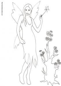 Cette fée à la baguette magique vient de redonner vie à ce vieux tronc, mais grâce à la magie, le tronc donne des fleurs en quelques minutes. Coloriage de la fée à la baguette magique devant l'arbre à fleurs, un dessi