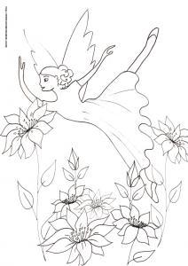 Coloriage d'une fée qui danse dans les fleurs. Grace à ses ailes, la fée peut danser au dessus des fleurs ? un coloriage à imprimer sur les êtres magiques. Coloriage de la fée qui danse dans les fleurs , un dessin de fée &ag