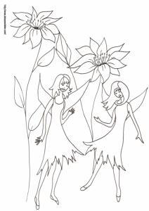 Coloriage de deux fées si petites que les fleurs qui les entourent semblent immenses, un coloriage sur les fées à imprimer et à colorier