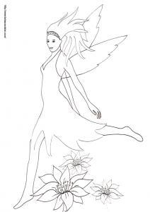 Coloriage d'une jolie fée qui court les cheveux au vent au beau milieu des fleurs - Un coloriage sur les fées à imprimer pour les enfants