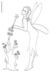 Coloriage d'une fée penchée sur l'arbre aux fleurs, un arbre très spécial qui ne se couvre que de fleurs normal,  l'arbre aux fleurs est un arbre à fées