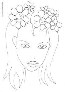 Un visage de fée à imprimer et à colorier :  sur le coloriage cette fée porte une couronne de grosses fleurs des champs sur ses cheveux. Coloriage du visage de fée à la couronne de fleurs, un dessin fée à im