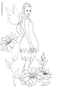 Sur ce coloriage la fée porte une robe en forme de corolles de fleurs superposées. La fée se tient debout au milieu des lys