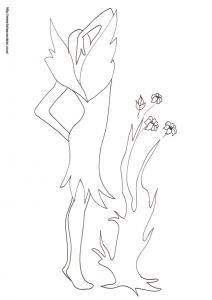Coloriage de la fée de dos devant l'arbre aux fleurs
