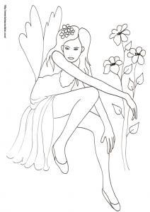 Voilà une bien jolie fée tranquillement assise au milieu des fleurs ? coloriage d'une fée vivant dans les champs et les prairies