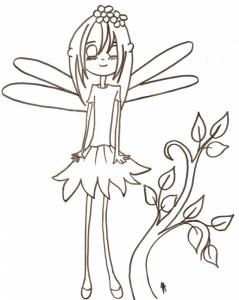Dessin à imprimer de la petite fée des fleurs aux yeux fermés. Sur le dessin, la petite fée est à côté d'une petite branche d'arbre à colorier elle aussi.