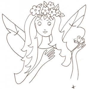 Coloriage du buste d'une jeune fée regardant un papillon, sur le dessin à colorier la fée porte une couronne de fleurs sur la tête. Imprimer le coloriage de la fée à la couronne de fleurs