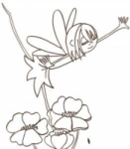 Tu peux imprimer le coloriage de cette fée aux petites ailes qui danse sur les grosses fleurs.