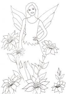 Coloriage d'une fée des jardins, sur ce coloriage, la fée est entourée de grosses fleurs de lys ? un coloriage à imprimer sur le monde des fées