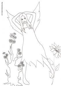 Coloriage d'une fée qui se repose dans la forêt. La fée se repose les bras derrière la tête. Imprimer le coloriage de la fée dessin 32,  un dessin fée de Tête à modeler  à imprimer pour le coloria