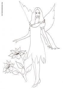 Coloriage d'une fée en petite robe au milieu des fleurs : un dessin de fée à colorier pour les enfants qui s'ennuient à la maison