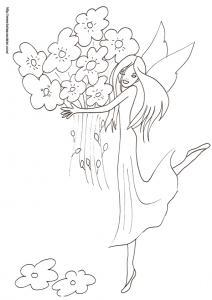 Coloriage de la fée portant un énorme bouquet de fleurs