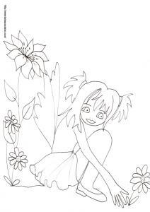 Imprimez le coloriage de la fée qui cueille les fleurs, votre enfant pourra ensuite le colorier ! Dessin d'une fée d'inspiration manga assise au milieu des fleurs qu'elle cueille.