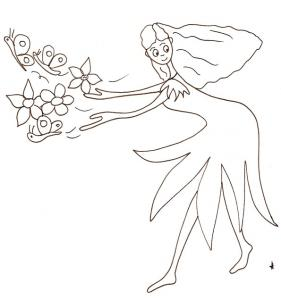 Coloriage d'une jeune fée qui s'amuse à lancer un gros bouquet de fleurs qui s'est transformé en fleurs et papillons. Un coloriage sur une fée qui s'amuse avec ses pouvoirs