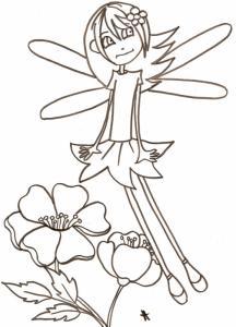 Coloriage de la petite fée des fleurs à l'air perplexe à imprimer et à colorier. Quelque chose semble surprendre notre petite fée !