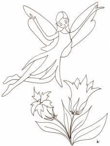 Coloriage d'une fée exerçant ses pouvoirs et volant au dessus d'un massif de gentianes ? un coloriage de fée à imprimer pour le jeu des enfants