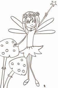 Sur ce coloriage la petite fée des fleurs se tient debout entre deux gros champignons, elle lève sa baguette d'une main pour faire un tour de magie - un coloriage de petite fée à imprimer