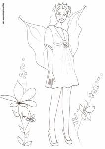 Une fée à robe courte et portant une grosse couronne dans les cheveux à imprimer pour le coloriage. Cette fée des villes en talons hauts s'est un peu perdue dans les prés !