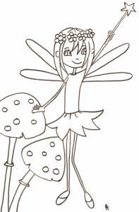 Coloriage d'une jolie petite fée tenant sa baguette magique au dessus de sa tête - un coloriage de petite fée à imprimer. coloriage d'une fée de la forêt à la baguette