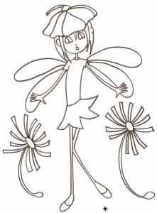 Coloriage d'une petite fée des fleurs coiffée et habillée de fleurs - La robe de cette petite fée est la corolle d'une fleur et son chapeau n'est autre qu'une fleur !