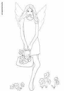 Coloriage de fée : Une fée des villes est venue faire un petit tour à la campagne. Cette fée en a profité pour remplir son sac de fleurs