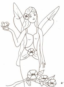 Coloriage d'une très jolie petite fée à imprimer pour le coloriage. La jolie petite fée porte une grosse fleur dans les cheveux et tient un papillon sur sa main.