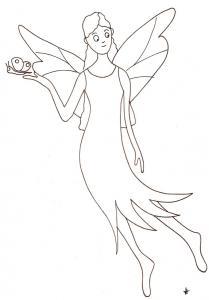 Coloriage d'une fée aux longs cheveux ondulés portant un petit papillon sur la main. Un coloriage à imprimer sur les fées