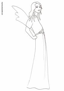 Coloriage de la reine des fées à la robe longue