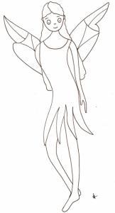coloriage de la fée aux grandes ailes