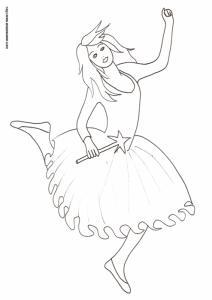 Dessin d'une fée à colorier : cette fée très joyeuse s'amuser à danser sa baguette à la main. Imprimez le coloriage pour votre enfant