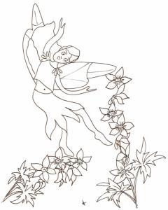 Coloriage d'une petite fée qui danse dans les fleurs mais qui ne semble pas très à l'aise avec ses pouvoirs magiques qu'elle ne maîtrise pas encore