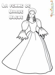 La femme de Barbe Bleue à colorier