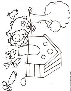 Coloriage du cochon d'inde et les poussins devant la maison à cochons d'inde. Dessin d'un cochon d'inde à imprimer pour le coloriage des enfants.