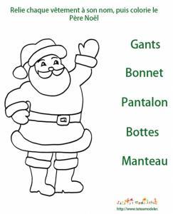 Imprimer l'activité sur les vêtements du Père Noël