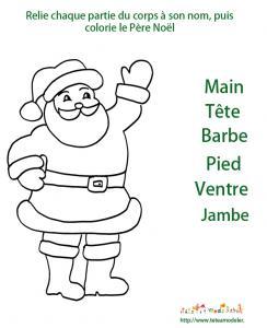 Jeu de Noel : imprime ce jeu pour retrouver toutes les parties du corps du Père Noà´l et relie chaque partie de son corps à son nom, termine en coloriant le Père Noà´l