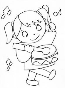 coloriage de la fille au tambour