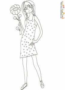 Coloriage jeune fille robe a pois et fleur