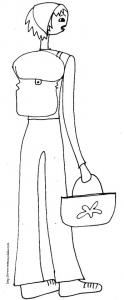 coloriage fille au sac de randonnée