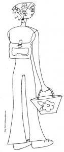 coloriage fille sac à dos 2