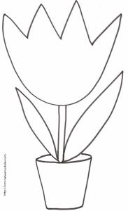 coloriage d'une grosse tulipe dans son pot