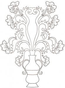 Coloriage de fleurs traditionnelles