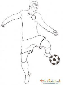 Coloriage joueur de foot driblant avec son ballon