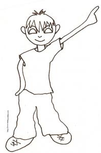 coloriage garçon bras en l'air
