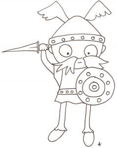 coloriage d'un gaulois à l'épée et bouclier