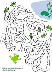 Imprimer le labyrinthe : Aide la grenouille à trouver l'étang