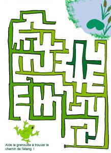 Jeu de labyrinthe à imprimer : Imprime le jeu de labyrinthe, la grenouille doit trouver son étang