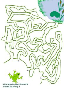 Jeu de labyrinthe à imprimer : oh! oh! Cette grenouille serait-elle perdu ? Imprime le jeu et aide la grenouille à trouver le chemin de sa mare.