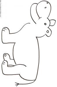 Coloriage d'un gros hippopotame à imprimer