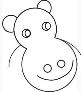 coloriage d'une tête d'hippopotame