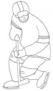Coloriage d'un joueur de hockey sur glace